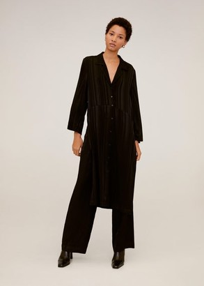 MANGO Long shirt dress black - 4 - Women