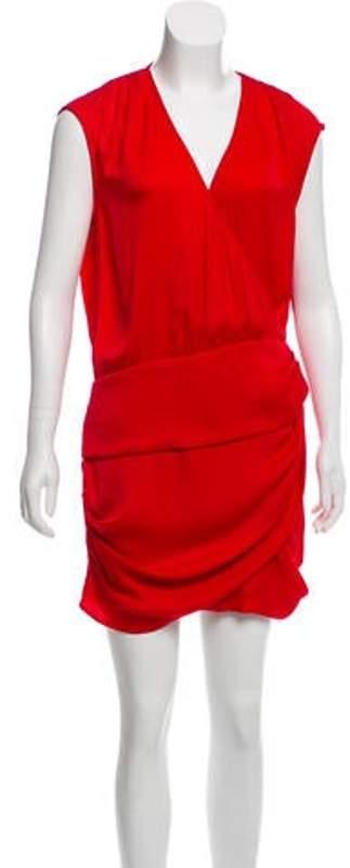 IRO Ruched-Trimmed Mini Dress Red Ruched-Trimmed Mini Dress