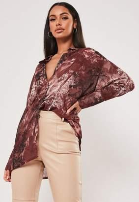 Missguided Burgundy Sheer Printed Oversized Shirt