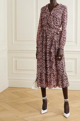 MICHAEL Michael Kors - Ruffled Floral-print Georgette Midi Wrap Dress - Red