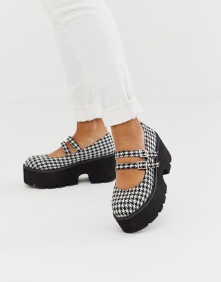 Asos Design DESIGN Milo chunky mary jane flat shoes in houndstooth-Multi
