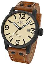 TW Steel Men's 'Maverick' Quartz Stainless and Leather Casual Watch, Color:Brown (Model: MS46)