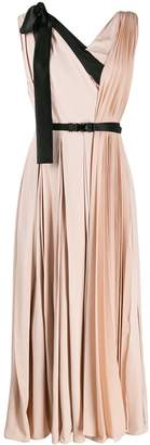 Prada contrast details pleated midi dress