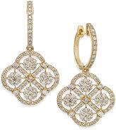 Effy D'Oro by Diamond Cluster Drop Earrings in 14k Gold (1-5/8 ct. t.w.)