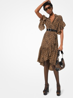 Michael Kors Leopard Silk Crepe De Chine Ruffled Wrap Dress