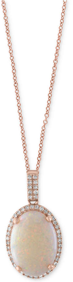 Effy Aurora by Opal (3-1/10 ct. t.w.) and Diamond (1/8 ct. t.w.) Pendant Necklace in 14k Rose Gold