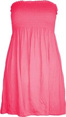 janisramone Womens Ladies New Plain Printed Bandeau Boobetube Mini Dress Gather Sheering Summer Flared Top Black