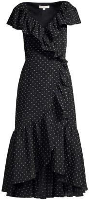 Rebecca Taylor Birdseye Dot Ruffled Wrap Dress
