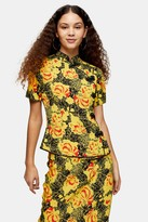 Topshop Womens Yellow Floral Print Frogging Blouse - Yellow