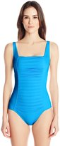 Calvin Klein Women's Solid Pleated-Front Maillot One Piece Swimsuit