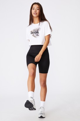 Factorie Short Sleeve Raw Edge Crop Graphic T Shirt
