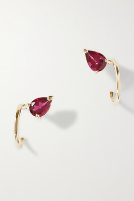 NATASHA SCHWEITZER Lara 9-karat Gold Garnet Hoop Earrings