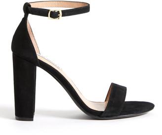Steve Madden Black Suede Carrson Ankle Strap Sandal Black 7