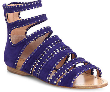 Sigerson Morrison Aisley Suede & Metallic Leather Sandals