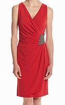 Calvin Klein Red Women's Size 4 Embellished Ruched Sheath Dress