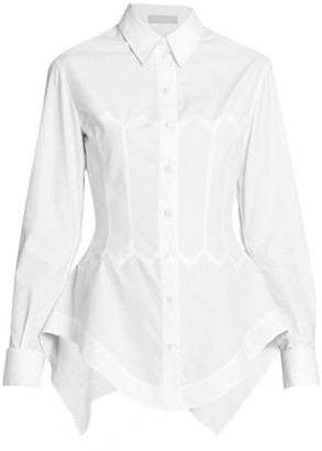 Alaia Cotton Poplin Collared Shirt