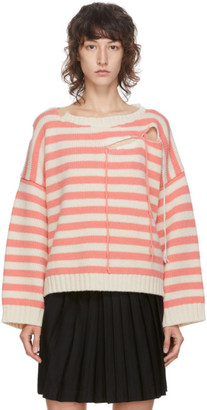 Charles Jeffrey Loverboy Pink and Off-White Striped Slash Sweater