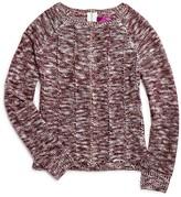 Aqua Girls' Marled Zip Back Sweater , Big Kid - 100% Exclusive