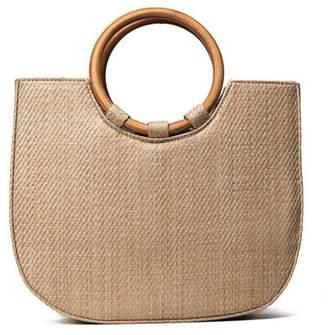 Kadell Straw Half Round Handbag Beach Messenger Tote Bag Basket Handbag Shoulder Bags