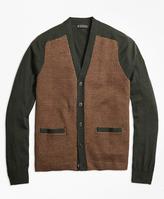 Brooks Brothers Merino Wool Gun Check V-Neck Cardigan