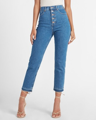 Express Super High Waisted Button Fly Mom Jeans