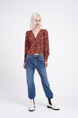 Glamorous Womens **Abstract Printed Blouse By Navy Blue