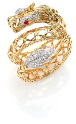 John Hardy Legends Naga 18K Gold, African Ruby & Pave Diamond Dragon Coil Ring