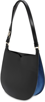 Valextra Hobo Suede & Leather Shoulder Bag