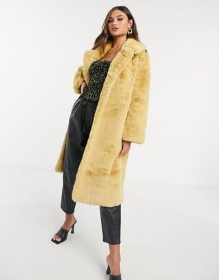 Jayley longer length faux fur coat in pale yellow