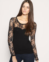 Lace Panel Long Sleeve T-Shirt