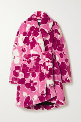 Balenciaga Belted Floral-print Faux Fur Coat - Pink