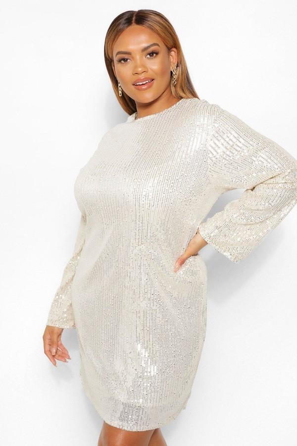 boohoo Plus Sequin Long Sleeve Shift Dress