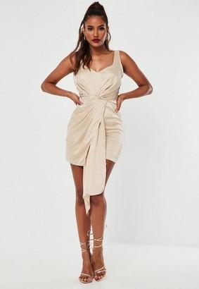 Missguided Champagne Stretch Satin Drape Mini Dress