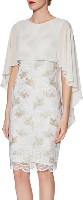 Gina Bacconi Kia Embroidered Dress and Cape, Beige/White