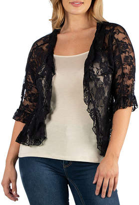 24/7 Comfort Apparel Sheer Lace Open Front Shrug - Plus
