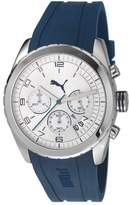 Puma Cycle Unisex Quartz Watch with White Dial Chronograph Display and Blue PU Strap PU103182003