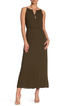 Nina Leonard Keyhole Tassel Sleeveless Maxi Dress