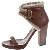 Brunello Cucinelli Multistrap Shearling-Trimmed Sandals w/ Tags