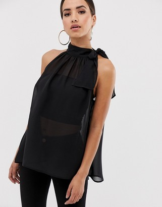 Asos Design DESIGN sheer halter neck swing top-Multi