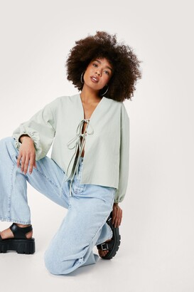 Nasty Gal Womens Tie Calling Us Later Linen Balloon Sleeve Blouse - Sage