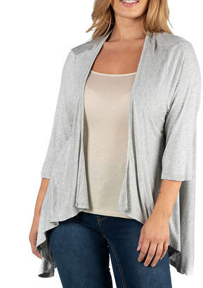 24/7 Comfort Apparel Elbow Sleeve Open Cardigan-Plus