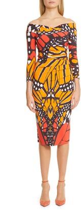 Chiara Boni Susie Butterfly Print Cocktail Dress