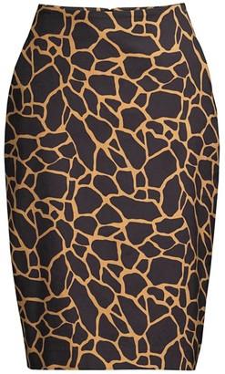 Donna Karan Giraffe-Print Pencil Skirt