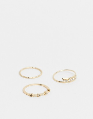 Topshop stacking rings multipack x 3 in gold with pave crystals
