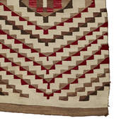 Rejuvenation Transitional Navajo Weaving in Natural Tones w/ Aniline Red