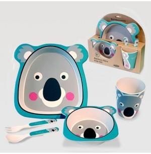 Certified International Koala Bear Eco Friendly Bamboo Fiber 5-Pc. Kids Dinnerware Set