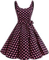 Bbonlinedress Women's 1950's Vintage Retro Bowknot Polka Dot Rockabilly Swing Dress XS