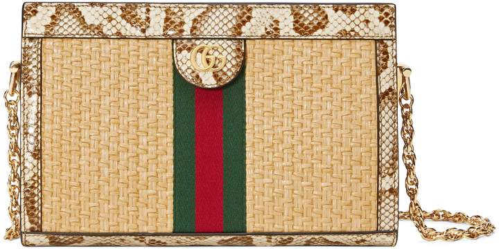 Gucci Ophidia straw small shoulder bag