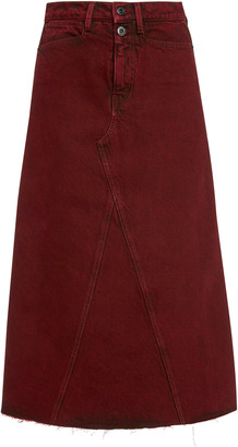Proenza Schouler White Label Raw-Edge Denim A-Line Midi Skirt
