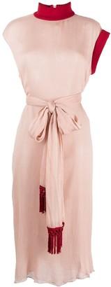 Atu Body Couture Waist-Tied Midi Silk Dress